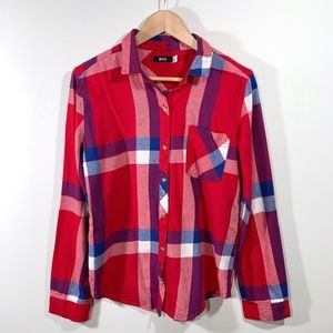 UO | BDG | Red & Blue Plaid Flannel Button Up Top